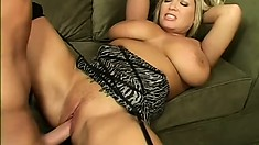 BlondeMILF Rachel Love has huge hooters to surround his hard hunk of meat