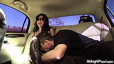 Jada Sky shows off her tits and cunt while riding in a stretcher