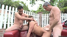 Nerdy girlfriend and boyfriend have the company of the guy's father in a hot threesome