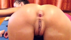Close up hot pussy fingering on webcam for her