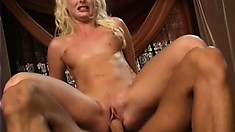 Blonde coed goes deep and gets her bald cunt, then her ass pumped