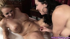 Together On The Massage Bed The Hotties Exchange Oral Caresses And Scream With Pleasure