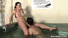 Sweet Asian babe getting her pussy licked like a horny slut in the pool