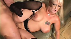 Horny older guy gets his prick sucked by a blonde hottie in a sexy threesome