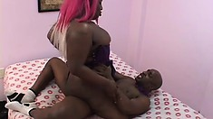 Chunky girl Kelly Reigns takes a black cock in her pussy from behind