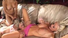 Three gorgeous lesbians enjoy using some big toys to get off
