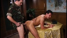 Sexy new soldier on the base gets his dick sucked and his ass fucked