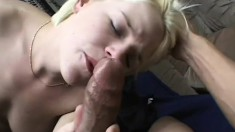 Nasty blonde chick seduces a dude into riding her tight pussy