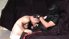 Chunky bad boy gets his ass whacked and sucks his master's dick