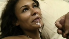 Cum hungry babe with big tits earns a hot mouthful after this blowjob