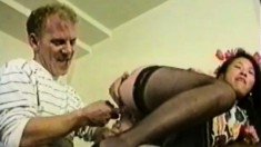 Amiable prossie in black stockings likes to be boffed by big penis